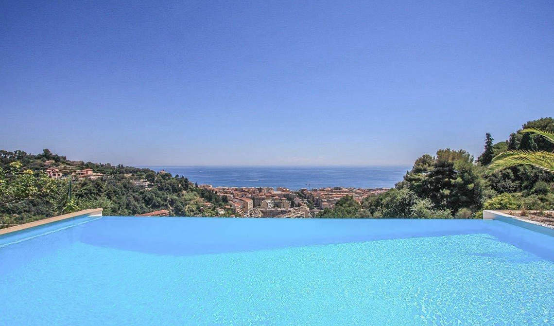 Villa for sale on a hill overlooking sea in Menton, France - 2